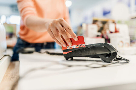 countertop card machine being swiped